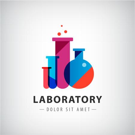 in lab: laboratorio vector, qu�mica, logotipo examen m�dico, icono. Dise�o moderno de colores con bombillas, botellas