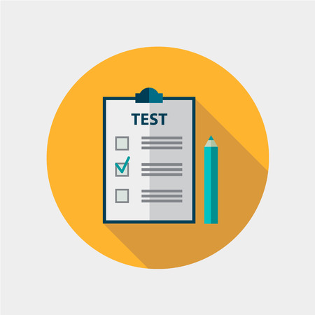 vector test flat design icon isolated, education, exam Vettoriali