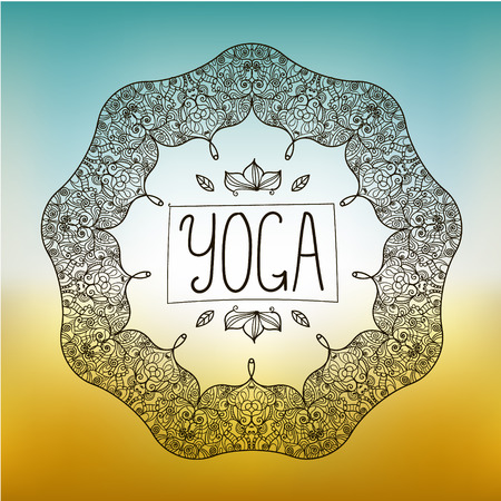fitness center: vector hand drawn ornamental yoga badge, logo, icon on smooth background Illustration
