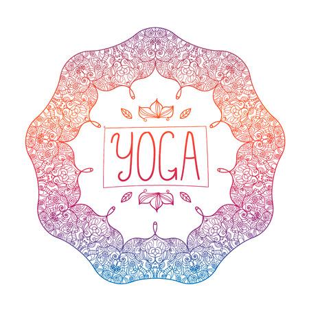 vector hand drawn ornamental colorful yoga badge, logo, icon Illustration