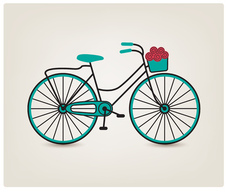 transport icon: vector vintage retro bicycle silhouette, transport icon isolated