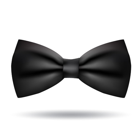coat and tie: Vector black bow tie icon isolated on white background. Elegant style