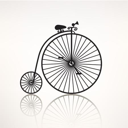 bicicleta retro: vector silueta de la bicicleta retro vintage, icono transporte aislado Vectores