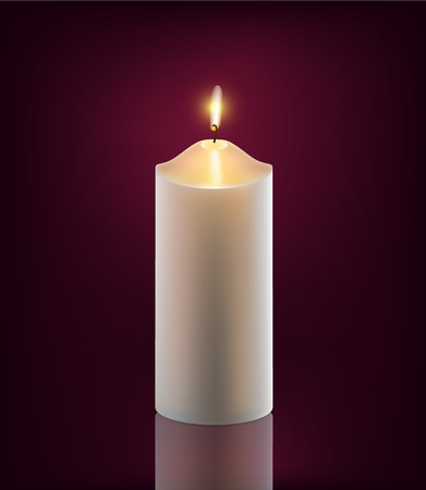 memorial candle: vector white burning candle on dark background
