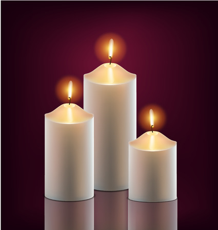 memorial candle: vector 3 white burning candles in the dark isolated