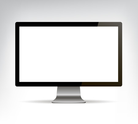 vector realistic computer monitor, pc display isolated