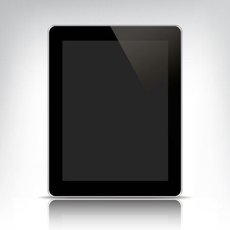 multitask: vector black tablet pc with empty screen isolated