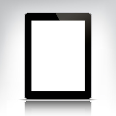 personal computer: vector black tablet pc with empty screen isolated