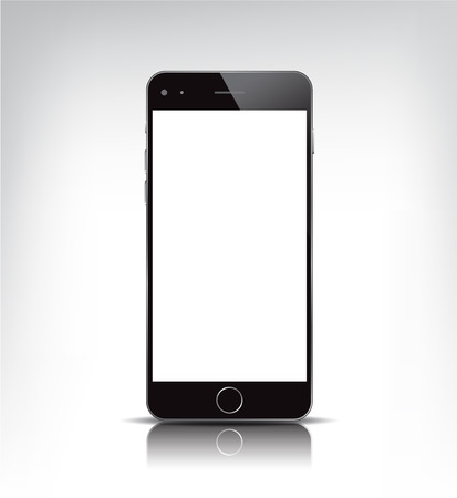 mobile device: vector realistic black phone with empty screen isolated