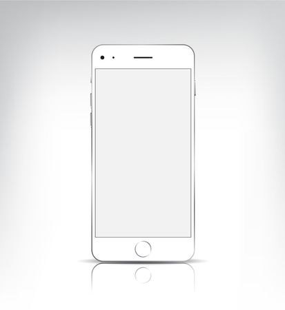 apple isolated: vector realistic white phone with empty screen isolated Illustration