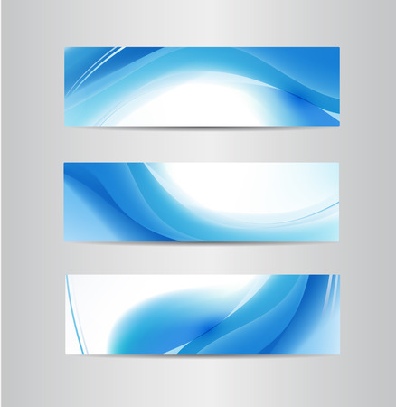 set of vector abstract flow water blue wavy banners
