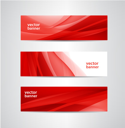 red silk: set of vector abstract red silk flow wavy banners