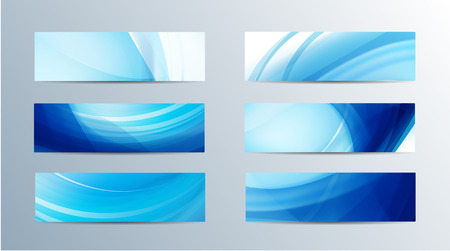 set of vector abstract blue water flow wavy banners Ilustração