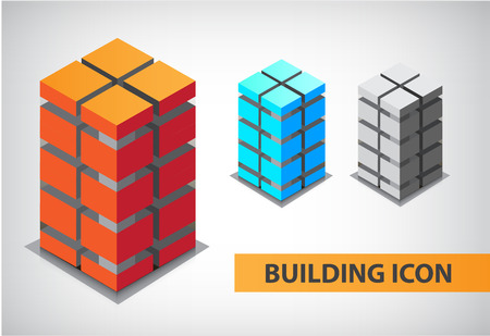 set of vector colorful 3d office building constructions, icons, apartments, logos