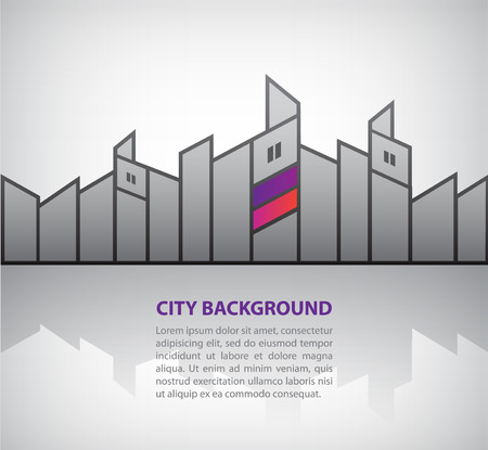 vector abstract silhouette city background with reflection, horizontal banner Vector
