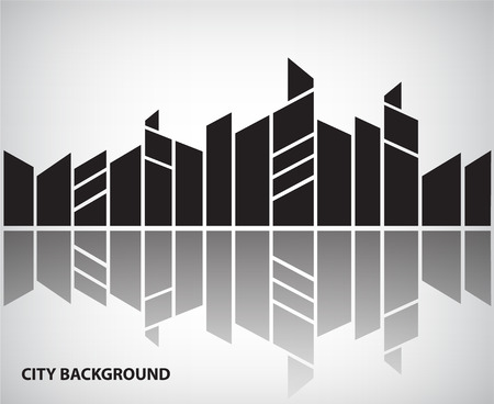 abstract city: vector abstract silhouette city background with reflection, horizontal banner