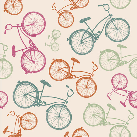 vector retro vintage bicycle texture, hipster background Иллюстрация