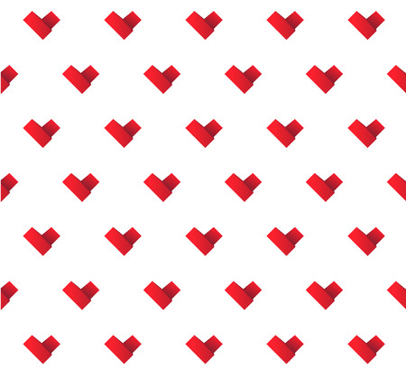 ribbon red: vector origami paper ribbon red hearts seamless background