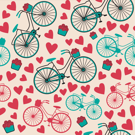 pedaling: vector retro vintage bicycle texture, hipster background Illustration