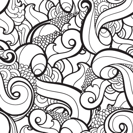 Vector black and white seamless wavy abstract pattern. Copy that square to the side,you ll get seamlessly tiling pattern. Wavy abstract background, can be used for decorationg cards, brochures, web Vector
