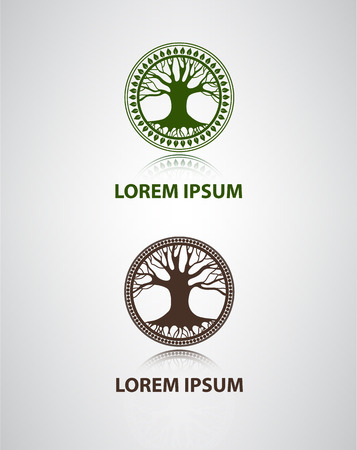 tree of life silhouette: vector tree icon, sign, symbol for company Illustration