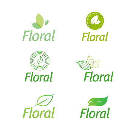 floral set of leaf floral green eco icons isolated