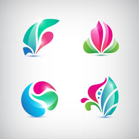 Vector conjunto de spa abstractos florales iconos, signos Foto de archivo - 37727858