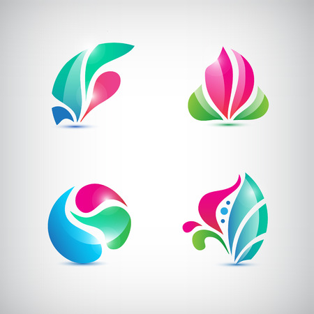 lotus leaf: vector set of spa abstract floral icons, signs