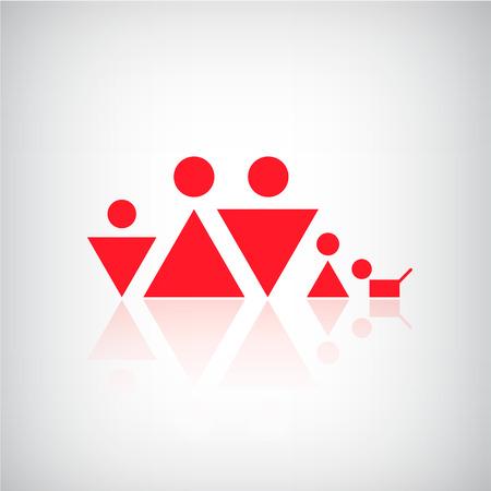 Vector sencilla familia formas geométricas logotipo, icono Foto de archivo - 38013203