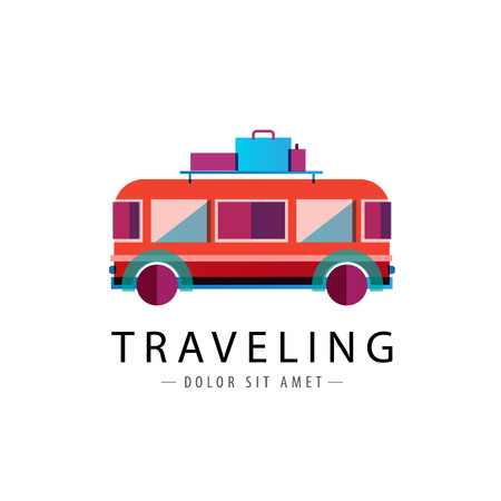 camper: vector retro bus logo, traveling icon isolated