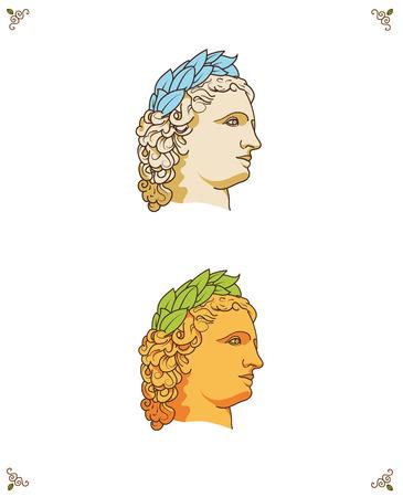 vector greek man head logo icon with laurel wreath isolated Vector