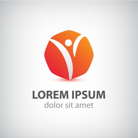 rushing: vector abstract orange man icon, logo isolated