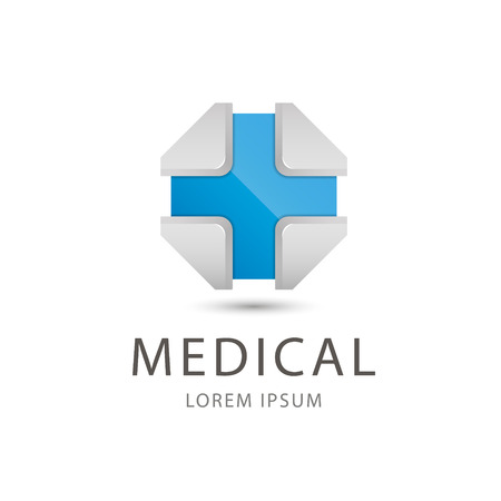 medical cross: vector 3d blue cross, medical icon isolated