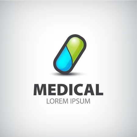 medical emergency service: vector colorful medical pill icon, sign, logo isolated