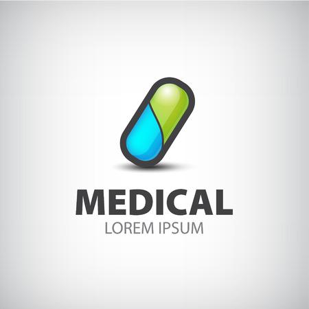 medizin logo: Vektor bunte medizinische Pille ikone, zeichen, logo isoliert