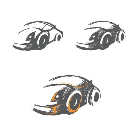 vector set of hand-drawn car sketches, logo ideas Vector