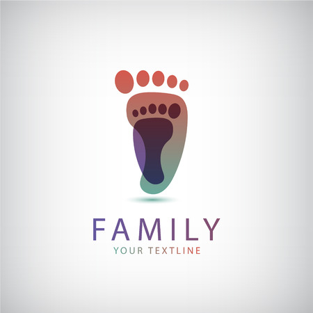 curare teneramente: famiglia vettore, 2 impronte icona, logo isolato Vettoriali
