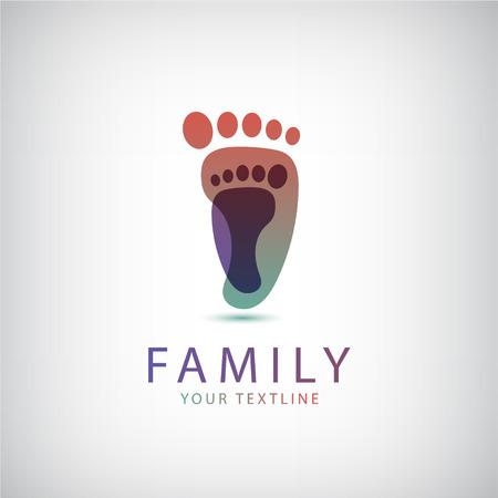 huellas pies: familia vector, 2 huellas icono, logotipo aislado Vectores