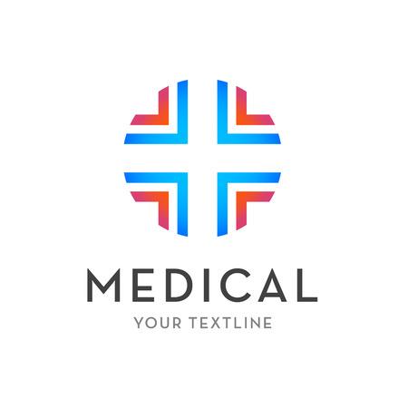lekarz: medycznych logo wektor, ikona, znak - krzyż izolowane