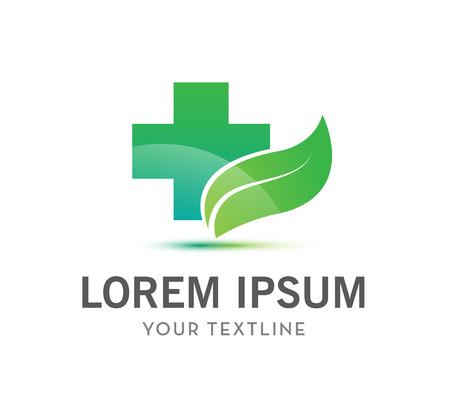 egészségügyi ellátás: vektor kereszt és a levél, az egészségügy zöld orvosi logo elszigetelt Illusztráció