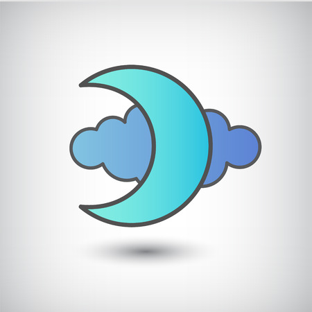 midnight: vector moon and cloud icon, sign isolated Illustration