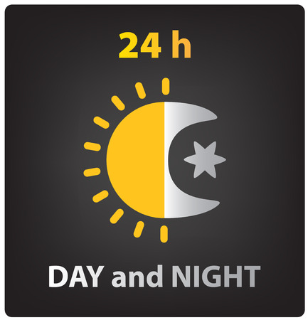dia y noche: día y noche vector icono, el sol y la luna Vectores