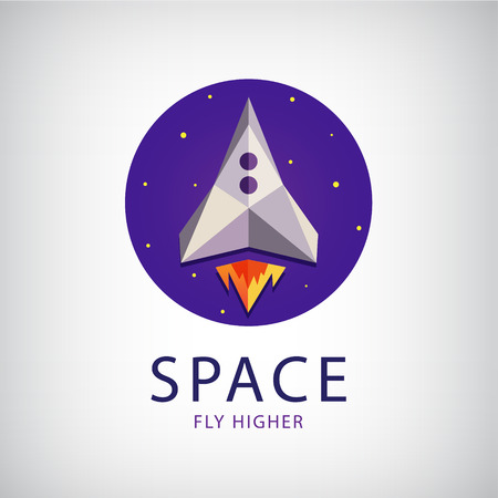 cartoon rocket: vector modern origami space rocket icon, logo isolated Illustration