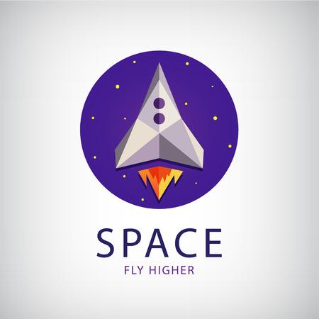 brandweer cartoon: vector moderne origami ruimteraket pictogram, embleem geïsoleerde
