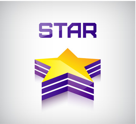 perpective: vector colorful 3d shiny star icon, sign, symbol, logo Illustration
