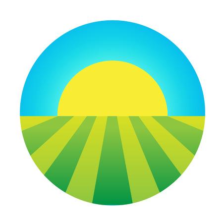 sol naciente: vector sol naciente bajo el icono de campo, símbolo ecológico, logotipo