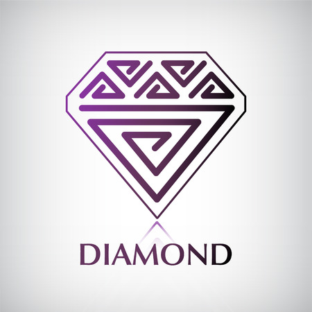 vector decorated pattern diamond icon, logo isolated