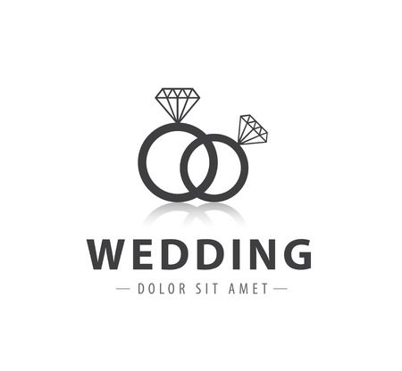 vector wedding diamond rings logo, icon isolated Vector