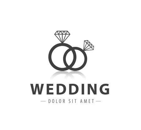 betrothal: vector wedding diamond rings logo, icon isolated