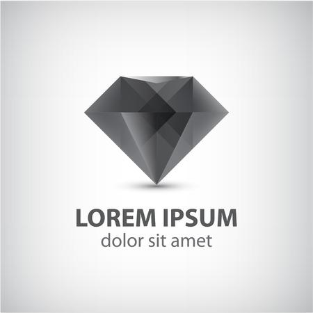 Vector zwart 3d diamant pictogram, geïsoleerde logo